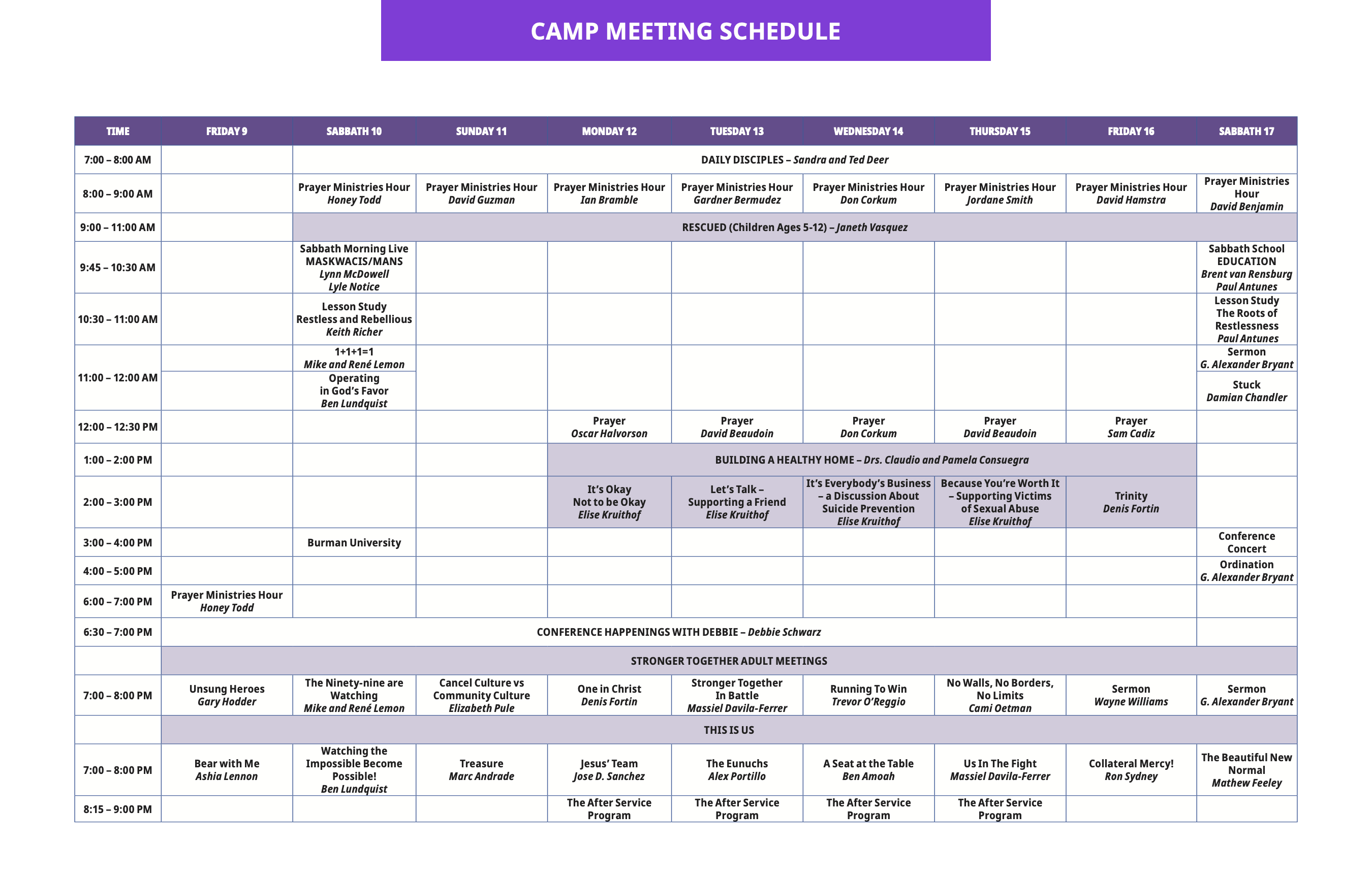 2021 AB Camp Meeting Schedule